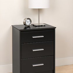 None - Yaletown Tall Black 3-Drawer Night Stand - The deep,black color and clean lines ensure this functional nightstand will look great in any setting. Made of durable laminate finish over wood composite material,this tall storage unit features three inset drawers with slides and metal handles.