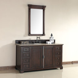 60 Inch Providence Sable Brown Single Sink Vanity - Please note: Vanities are priced with no vanity top. Multiple vanity top options available.