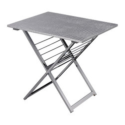 Sterling Industries - Sterling Industries 6043653 Delta Magazine Rack - Silver - Dual Purpose Side Table With Lovely Removable Silver Faux Croc Tray Top. Chrome Legs Fold For Space Saving When Not In Use. Racks For 8 To 10 Magazines. Perfect For Today������S Versatility Minded Consumer.  Magazine Rack (1)
