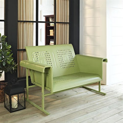 Crosley Furniture - Veranda Loveseat Glider in Oasis Green - Sturdy Steel Construction. Easy To Assemble. UV Resistant. Smooth glide rocking mechanism. Indoor/Outdoor Construction. . 31 in. W x 52 in. D x 33 in. H (84 lbs.)