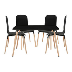 Stack Wood Dining Chairs and Table Set of 5 - Acquaint yourself with an intelligent piece concealed behind sheer simplicity. Stack exhibits fluid lines and an organic form in a seamless transition from the abstract to the definite. Made from a painted durable steel top and solid beech wood legs, Stack coalesces both form and purpose in a harmoniously designed piece that matches well in any uncomplicated decor.