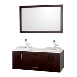 "Wyndham Collection - Wyndham Collection 55"" Arrano Espreso Double Sink Vanity w/ Semi-recessed Sink - The Arrano Double Vanity Set features compact design in a double vanity with plenty of storage, blending simple lines and clean design with modern elements like semi-recessed vessel sinks and brushed chrome hardware, resulting in a modern yet timeless piece of bathroom furniture."