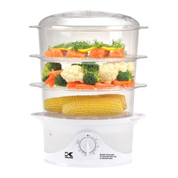 Kalorik - Multi-level Food Steamer - Steaming food is a great way to ensure a healthy and nutritious meal. You could create a feast within the three tiers of this food steamer. Just imagine rice topped with a farmer's market full of veggies, and dinner will be on the table before you know it.