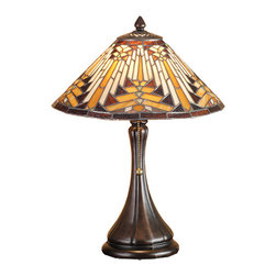 "Meyda - 18""H Nuevo Mission Accent Lamp - Warm earth toned bone beige and moccasin tan stainedglass, accented with glistening root brown and sagegreen, is used to make this intricate interlockingpatterned shade. A traditional lamp base in a handapplied mahogany bronze finish supports the handsomeround cone shade inspired by historic american artwork.handcrafted with the copper foil technique developed bylouis comfort tiffany, this accent lamp is a truemasterpiece. Bulb type: reg. Bulb quantity: 1 bulb wattage: 60"
