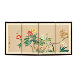 Oriental Unlimited - Hand-Painted Butterflies in the Garden Wall A - Choose Size: 36 in. W x .63 in. D x 18 in. HScreens may vary slightly in color. An extraordinary painting with large colorful blooms beneath fluttering butterflies. Subtle and beautiful hand painted wall art for a fraction of the cost of a comparable print. Large hand painted ink and watercolor silk screen. Song dynasty (10th century China) brush art style. Can be displayed as a privacy screen. Can be folded partly to stand upright on a table or floor. Crafted from silk covered paper, glued over 4 side-by-side lacquered wood frames. Matted with a fine Chinese silk brocade border. Comes with lacquered brass geometric hangers for easy mounting. Note that no 2 renderings are exactly the same. 36 in. W x 18 in. H. 48 in. W x 24 in. H. 72 in. W x 36 in. H