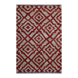 "ALRUG - Handmade Red/Maroon Oriental Kilim  6' 7"" x 9' 11"" (ft) - This Afghan Kilim design rug is hand-knotted with Wool on Wool."