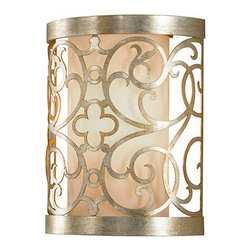 Ballard Designs - Mariah 1-Light Sconce - Slim elegant curved profileHand finished. An ornamental Arabesque motif hand crafted of steel encases the ivory linen shade and transforms the Mariah 1-Light Sconce from ordinary to extraordinary. The Silver Leaf Patina positively shines and highlights the beauty of the pattern when the light is on.Mariah Sconce features: Slim elegant curved profile. Hand finished.