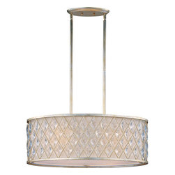 Maxim Lighting - Maxim Lighting 21456OFGS Diamond 4 Light Pendants in Golden Silver - Diamond-shaped crystals gracefully fit the openings in these metal frames finished in a rustic Golden Silver finish, and creamy Off White fabric shades line each frame of the Diamond collection. The oval-shaped pendant is sure to be the focal point of any fine d�cor.