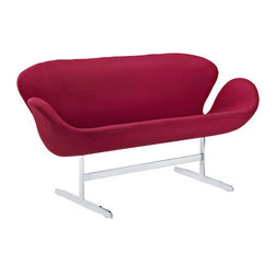 Modway - Wing Loveseat, Red - perhaps no chair is more synonymous with organic design than the wing chair. first intended as an outstretched reception chair, the piece is expansive like the wings of its namesake. while organic living promotes the harmonious balance between human habitation and the natural world, achieving proper balance is a challenge. it is often left to the designers, those creative leaders of the generation, to guide the way. while the padded fiberglass shell is upholstered in a layer of fabric, the admiration for this piece comes from a much deeper source. first developed in the mid-20th century, the wing chair is a testament to the potential inherent in human endeavor. while the chair rests firmly on a sturdy polished aluminum frame, it's the abandonment from the particulars of engineering and industry that make it so endearing. this sprawling two-seater version is a fuller representation of the theme that the original design intended to convey.