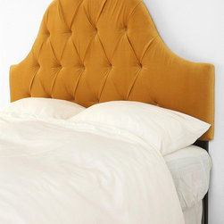 Velvet Tufted Headboard, Antique Gold - An amazing yellow headboard — I love both the shape and color.