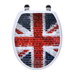 Photoprint MDF Toilet Seat Union Jack with Zinc Hinges Multicolor Elongated - This photoprint toilet seat Cuba is in medium-density fiberboard (MDF) with the Union Jack's flag model. This standard size toilet seat has adjustable zinc alloy hinges (3 positions-5 possible lengths) and is easy to install with the included hardware. Comfortable with its 4 bumpers, it fits standard toilet bowls. Assembly instructions are supplied. Clean with warm soapy water. Length 16.73-Inch (max 18.5-Inch) and width 14.75-Inch. Color multicolor. Enhance your bathroom decor with this unique toilet seat! Complete your decoration with other products of the same collection. Imported.