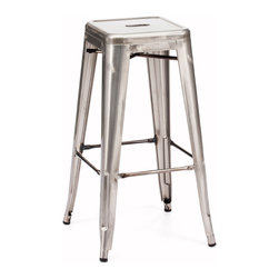 ZUO ERA - Marius Bar Chair Gunmetal (set of 2) - Seen in popular bistros in France, the Marius bar and counter chair will transform your space into a caf in Paris. The stool is electrical plated.