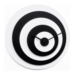 Progetti - Target 1910 White/Black Wall Clock - Wall clock in painted wood. Battery quartz movement.