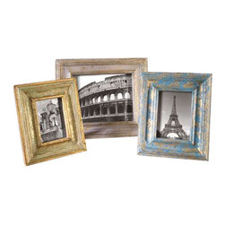 Uttermost Suvarna Gold Photo Frames Set/3 - Gold leaf with blue, gray and light green glazes. Gold leaf photo frames with blue, gray and light green glazes. Sizes: sm-9x11, med-10x12, lg-13x15. Holds photo sizes 4x6, 5x7 and 8x10.