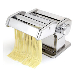 HomeStart - HomeStart Pasta Maker - -Make authentic Fresh pasta in your home with this pasta machine -Easy Pull Handle regulates thickness of pasta dough ( 9 Different Positions) -Includes hand-crank and clamp with ABS plastic handles. -Make: Spaghetti / Fettuccine / Noodles and More Includes Instructions and Recipe Booklet HomeStart Pasta Maker is a great addition to someone new in the kitchen or a seasoned chef. Make your own Healthy Pasta, add fresh ingredients into your dough if you like to. Home chefs are more interested than ever in creating more wholesome ways to feed their families. Organics are in, and pasta is never out. The Homestart pasta machine is compact and versatile to fit into any kitchen decor. With this machine you'll be able to make your favorite pasta as thick or thin as you like it. It has an easy to use adjustment knob that allows you to control the thickness of pasta - from 0.3mm to 2.5mm. This heavy duty machine has a chrome plated steel body. The rollers and cutters are made of long lasting anodized aluminum. The anodized aluminum is a wellness innovation; rollers and cutters grab the dough better and because they are free from heavy metals, such as chromium and nickel, you get healthier results. Gears are case-hardened tempered steel. Can free stand on the counter or use the Included clamp for securing to a counter. Includes an easy to start Instruction booklet. Make authentic Fresh pasta in your home with this pasta machine Easy Pull Handle regulates thickness of pasta dough ( 9 Different Positions). Make: Spaghetti / Fettuccine / Noodles and More