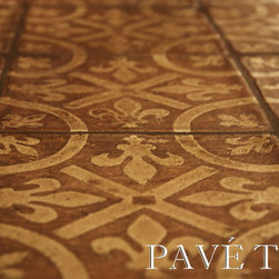 Montmartre Encaustic Terra Cotta Tile Flooring - French Decor.  For an extremely authentic old world European aesthetic that mixes history with beauty.  Tone-on-tone muted earth decorative colors adds subtle interest to the floor.