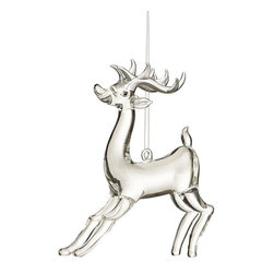 Home Decorators Collection - Glass Deer Ornaments - Set of 2 - Our set of two Glass Deer Ornaments will gallop merrily across your tree. The clear glass creates a lustrous focal point. Set of two. Made of glass. Antlers in silver finish.