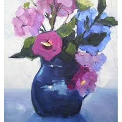 """Garden Flowers"" (Original) By Carol Schiff - I Picked These Flowers From My Garden....Hydrangea, Rose Of Sharon, Queen Ann'S Lace.  I Put Them In My Favorite Blue Vase And Sat Them In Front Of The Window With Diffused Natural Light Streaming In Behind Them."