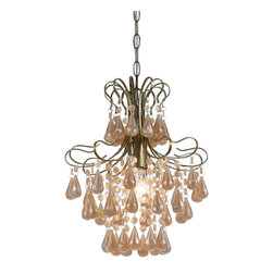 AF Lighting - Tiffany 1-Light Plastic Mini Chandelier in Light Pink Pearl - Our Tiffany mini chandelier in light pink pearl is a great updated traditional look for your girly d�cor, plastic teardrops on a soft gold frame add just the right touch of elegance on this pink mini chandelier. Swag kit included. Due to hand-crafting, no two plastic chandeliers are alike.