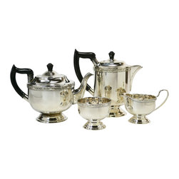 Viners of Sheffield on base - Consigned Silver Plated Tea and Coffee Set by Viners, Vintage English, 1930s - Elegant silver plated tea and coffee set with a teapot, coffee pot, sugar bowl and creamer decorated with bands of floral scroll by Viners of Sheffield; vintage English, 1930s.