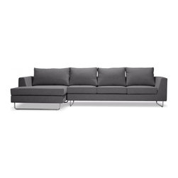 Asher - Earth Fabric sectional with left-arm chaise - Asher is designed to play a starring role. And at nearly ten and a half feet long, its outline and polished chrome legs still render it seeming nearly weightless.The sofa's arms taper slightly outward from the cushions, cutting a distinct profile and natural back rest. Asher's form is slightly larger than standard chaise lounges, but the extra real estate provides the requisite space for stretching out.Asher will maintain its shape and invite comfort for years. A combination of high-resilience foam seating and removable back cushions wrapped in goose-down invite you to sit back, relax, and stay a while - as will Asher's high-quality, soft felt upholstery.    Our Earth fabric is a solid brown color.Dimensions: 130*60*32