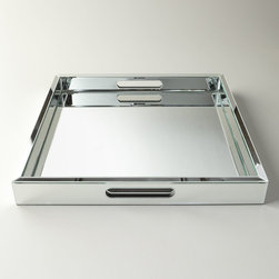 Regina-Andrew Design - Regina-Andrew Design Large Mirrored Tray - A large mirrored tray instantly adds sparkle wherever you place it. This one would be gorgeous on a coffee table holding a floral arrangement and a small book.