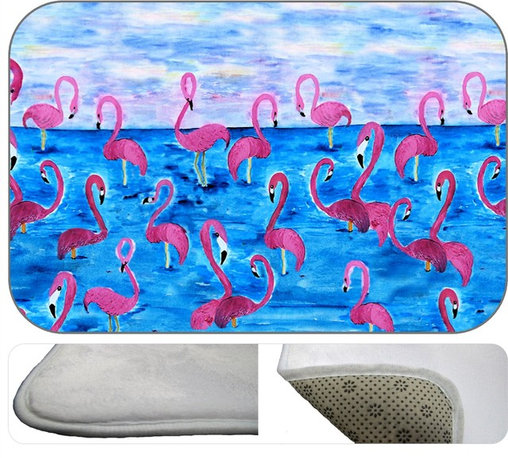 Flamingo Rest  Plush Bath Mat, 30X20 - Bath mats from my original art and designs. Super soft plush fabric with a non skid backing. Eco friendly water base dyes that will not fade or alter the texture of the fabric. Washable 100 % polyester and mold resistant. Great for the bath room or anywhere in the home. At 1/2 inch thick our mats are softer and more plush than the typical comfort mats.Your toes will love you.