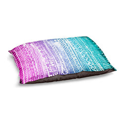 "DiaNoche Designs - Dog Pet Bed Fleece - Pastel Ombre Aztec - DiaNoche Designs works with artists from around the world to bring unique, designer products to decorate all aspects of your home.  Our artistic Pet Beds will be the talk of every guest to visit your home!  BARK! BARK! BARK!  MEOW...  Meow...  Reallly means, ""Hey everybody!  Look at my cool bed!  Our Pet Beds are topped with a snuggly fuzzy coral fleece and a durable indoor our underside material.  Machine Wash upon arrival for maximum softness.  Made in USA."