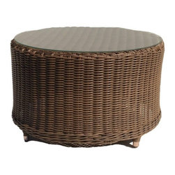 Wicker Paradise - Outdoor Wicker Round Cocktail Table - Bayshore - This outdoor wicker cocktail table is the perfect addition to your patio décor. The rich hazelnut finish allows this piece to be easily paired with your existing furniture or matched with other valuable items from the Bayshore collection.  The all weather cocktail table is built on an aluminum frame and comes with a glass top.