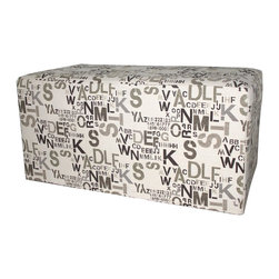 Armen Living - Armen Living Fabric Ottoman Bench in Modern Alpha Letters - Armen Living - Ottomans - LC3492OTBE - Kick up your heels as you kick your sense of style into high gear with this modern bench upholstered in hip Alpha Letters fabric.