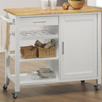 Sunset Trading - 41.5 in. Eco-Friendly Kitchen Cart - Natural hardwood butcher block top. Towel bar and cup or utensil hooks add style, multifunctional and quality. Convenient mobile design with locking wheels. Durable piece sure to be welcome addition to any dining area. Ease of access with shelving for variety of storage options. Three open shelves for storage or display. One utility drawer for utensils or linens. Large cabinet with one non-adjustable shelf. Brushed nickel hardware. Warranty: One year. Made from Malaysian oak solids and veneers. White finish. Made in Malaysia. Assembly required. 41.5 in. L x 19 in. W x 35 in. H (67 lbs.)Add plenty of extra storage space to your kitchen, dining or entertainment room with this versatile Sunset Trading cart. Maximize the functionality of your kitchen with style by adding a kitchen cart from Sunset Trading Sunset Dining Collection. Increase your kitchen storage and functionality for years to come without breaking the budget!