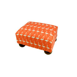 Lava - Flamingo Footstool - Upholstered footstool with wooden bun feet and polyurethane foam fill. Measures 15 x 12 x 7. Spot clean only. Handcrafted in USA.