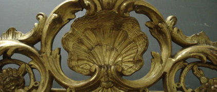 Ref 3497- Antique French mirror - Gilt crested Louis Philippe style mirror with