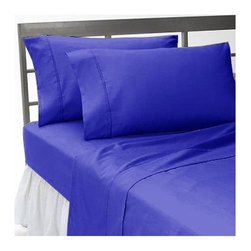 SCALA - 1000 TC Queen Size Solid Egyptian Blue Color Fitted Sheet - We offer supreme quality Egyptian Cotton bed linens with exclusive Italian Finishing. These soft, smooth and silky high quality and durable bed linens come to you at a very low price as these come directly from the manufacturer. We offer Italian finish on Egyptian cotton, which makes this product truly exclusive, and owner's pride. It's an experience and without it you are truly missing the luxury and comfort!!