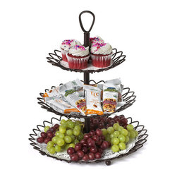 Bronze Three-Tiered Twist Serving Tray - Serve with style using the Bronze Three-Tiered Twist Serving Tray. This wire serving station has seven interlocking parts for a quick and easy assembly; you can even turn it into a two-tiered server if your dinner party is smaller. The twist design is unique and gives your display eye-catching appeal. Serve snacks, desserts, hors d'oeuvres, or anything you want on display with this durable and stylish bronze twist server.