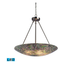 Landmark Lighting - Landmark Lighting Avalon 73023-5-LED 5-Light Pendant in Satin Nickel - LED - 800 - 73023-5-LED 5-Light Pendant in Satin Nickel - LED - 800 Lumens belongs to Avalon Collection by Landmark Lighting This Series Showcases Hand-Painted CrackLED Glass With Colorful Textured Patterns And Hardware Finished Satin Nickel. - LED, 800 Lumens (4000 Lumens Total) With Full Scale Dimming Range, 60 Watt (300 Watt Total)Equivalent , 120V Replaceable LED Bulb Included Pendant (1)