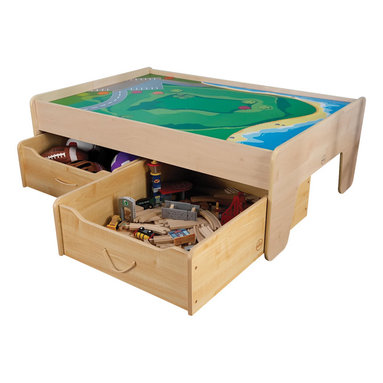 """KidKraft - Kidkraft Home Indoor Kids Children Playroom Train Trundle - Natural - Storing large play pieces like train tracks and train accessories is simple with our handy Trundle Drawers. Designed to withstand rigorous use, our Trundle Drawers are crafted from a combination of wipe-clean melamine and high-impact T-molding for extra durability. Shallow enough to fit under most train tables, beds, or other low tables. Dimension: 32.25""""Lx 23.5""""Wx 10.25""""H"""
