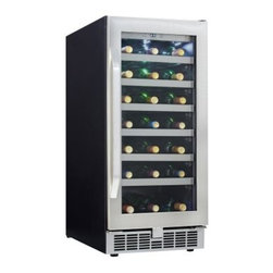 Danby DWC93BLSST Silhouette Select 34-Bottle Built-In Wine Cooler - Keep your wine collection organized accessible and at the proper temperature with the Danby DWC93BLSST Silhouette Select 34-Bottle Built-In Wine Cooler. A handy attractive addition to any home bar or kitchen this quality stainless steel unit stores 34 bottles of wine on stainless steel-trimmed wood shelves that slide out effortlessly on roller glides. An interior LED display allows you to see a precise temperature readout while the Low-E tempered glass door helps protect your wine from harmful UV rays. Additional Features: Stamped stainless steel door frame with matching handle Temperature range can be set between 39°F - 64°F Stainless steel kick plate Interior white LED display lighting Reversible door swing allows for left- or right-hand opening Frost-free fan-forced cooling system for consistent internal temperature Alarm will sound if temperature fluctuates excessively or door is left ajar About Danby ProductsDanby is one of the largest household appliance marketing companies in North America with an impressive lineup of compact specialty and home comfort appliances to suit the lifestyles of today's consumer. Danby's reputation as a leader in the appliance market has been achieved by researching what consumers want and providing quality innovative products at competitive prices to fit their lifestyles.
