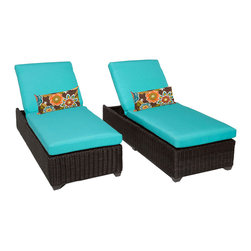 TKC - Rustico Chaise Set of 2 Outdoor Wicker Patio Furniture 2 for 1 Cover Set - The Rustico wicker chaise lounge is available in a unique Chestnut Brown colored full round resin weave over heavy duty rust-resistant powder coated aluminum frame