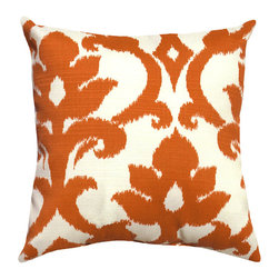 Land of Pillows - Richloom Solarium Basalto, Tangerine, 16x16 - Fabric Designer - Richloom Solarium