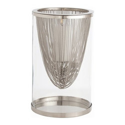 Arteriors - Worth Hurricane, Polished Nickel - This beautifully designed hurricane lantern lets you set the mood with style. A curtain of either nickel or brass chains drapes within a silo of glass to fascinating effect with candlelight.