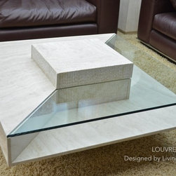 """LOUVRE 39""""x39""""x14"""" TRAVERTINE MARBLE COFFEE TABLE - Reference: CT213+CT213GLASS"""