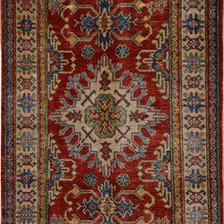 "ALRUG - Handmade Rust Oriental Kazak Rug 3' 5"" x 5' 1"" (ft) - This Afghan Kazak design rug is hand-knotted with Wool on Cotton."