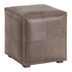 Arteriors - Grayton Ottoman, Brown/Antique Brass - This shagreen pattern has been embossed on top grain leather panels which are then dyed. The nail head trim gives the Grayton Ottoman an updated classic feel. Use as extra seating or at the foot of a bed.