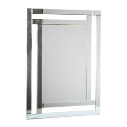 "Concepts Life - Concepts Life Accent Mirror  Enclosed Contentment  Rectangular - Our sleek strong em Enclosed Contentment accent mirror has long clean lines and dramatic angles, which makes it a perfect accent for your contemporary space. The design creates the illusion of a mirrored frame and will add a glamorous touch to your entryway or living space.  Modern mirror with black MDF backing; D hooks attached for hanging. Product dimensions: 30""w x 42""h x 1""d Weight: 29 lbs Mounting hardware not included Imported"