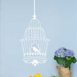 Vintage Bird Cage Vinyl Wall Decal - Our Vintage Bird Cage Vinyl Wall Decal from Wallternatives will help bring nature indoors. Imagine the melodic chirping of these cute birds as our fanciful wall decals decorate your favorite space.