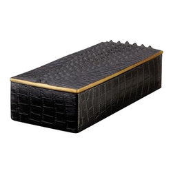 "L'Objet - L'Objet Crocodile Rectangular Desk Box - L'Objet is best known for using ancient design techniques to create timeless, yet decidedlymodern serveware, dishes, home decor and gifts. eleganceand charm. Dimensions: Tray: 6""w x 6""d Round box: 3"" Rectangular box: 4""w x 9""d x 2""h Pencil cup: 2"" x 3""h Magnifying glass: 7.5''Letter opener: 9'' x 1.3'' - solid brassCandle: 3.5'' x 4.5''Luxuriously Gift Boxed From L'Objet, ImportedCrafted by hand in Portugal using fine Limoges porcelain, this box is finished with 24-kt. gold accents"