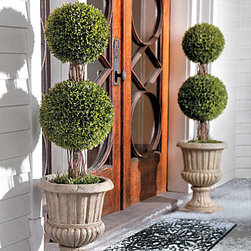 "Improvements - 36"" Podocarpus Double Ball Topiary - This artificial topiary features a classic double ball design that adds beauty outdoors or in. With the Podocarpus Double Ball Topiary, you won't have to worry about watering, trimming, or clean-up. The Podocarpus Double Ball Topiary is weather-resistant and long lasting. Dress up your entryway with our realistic Podocarpus Double Ball Topiary -- no watering required! Shaped in a double ball with a twig-look trunk, the Podocarpus Double Ball Topiary has small pointed leaves and trailing stems for a very realistic appearance. Use this artificial topiary outdoors or in; just place the weighted plastic pot inside one of our stone-look urns (sold separately) or use your own decorative planter. Durable polyethylene construction is weather-resistant so you can enjoy the Podocarpus Double Ball Topiary for many years. This artificial topiary never needs trimming, and you won't have to worry about branches turning brown and falling off! Benefits of the Podocarpus Double Ball Topiary:    Looking for a different style? Check our complete selection of Topiaries & Artificial Plants."