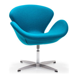 Zuo Modern - Zuo Modern Pori Arm Chair Island Blue [Set of 2] - Arm Chair Island Blue belongs to Pori Collection by Zuo Modern The Pori Chair takes its inspiration from modern European design and mixes it with American details such as the soft wool-like texture of the fabric and the vibrant color offerings. The base is chrome with swivel. Arm Chair (2)
