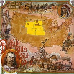 Magic Murals - Buffalo Bill Wild West Map Wallpaper Wall Mural - Self-Adhesive - Multiple Sizes - Buffalo Bill Wild West Map Wall Mural